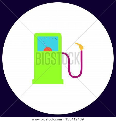 Gas station Simple vector button. Illustration symbol. Color flat icon
