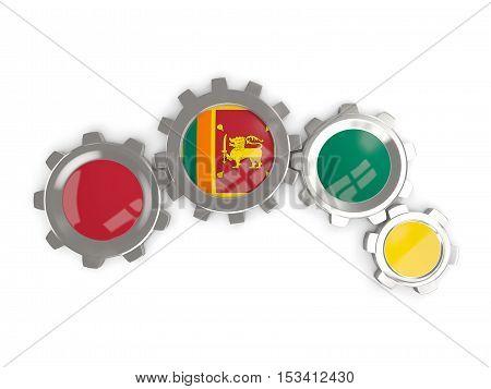 Flag Of Sri Lanka, Metallic Gears With Colors Of The Flag