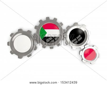 Flag Of Sudan, Metallic Gears With Colors Of The Flag