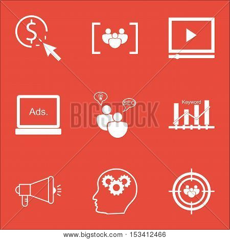 Set Of Advertising Icons On Ppc, Keyword Optimisation And Video Player Topics. Editable Vector Illus