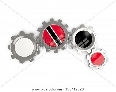 Flag Of Trinidad And Tobago, Metallic Gears With Colors Of The Flag