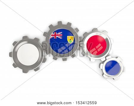 Flag Of Turks And Caicos Islands, Metallic Gears With Colors Of The Flag