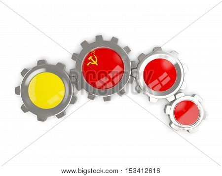 Flag Of Ussr, Metallic Gears With Colors Of The Flag
