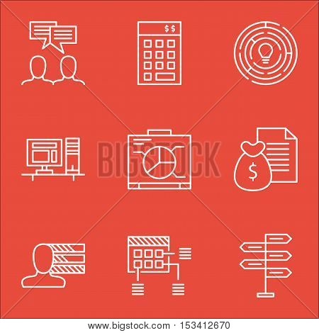 Set Of Project Management Icons On Report, Investment And Discussion Topics. Editable Vector Illustr