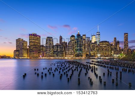 New York City skyline on the East River.