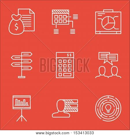 Set Of Project Management Icons On Schedule, Presentation And Discussion Topics. Editable Vector Ill