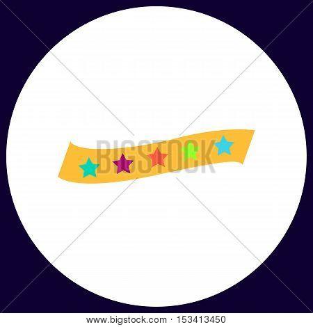 star ribbon Simple vector button. Illustration symbol. Color flat icon
