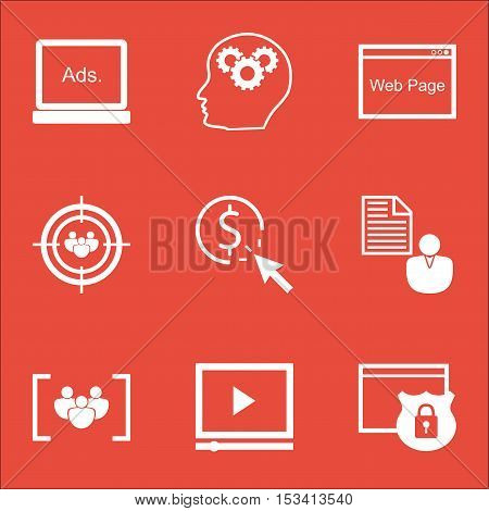 Set Of Seo Icons On Questionnaire, Video Player And Focus Group Topics. Editable Vector Illustration