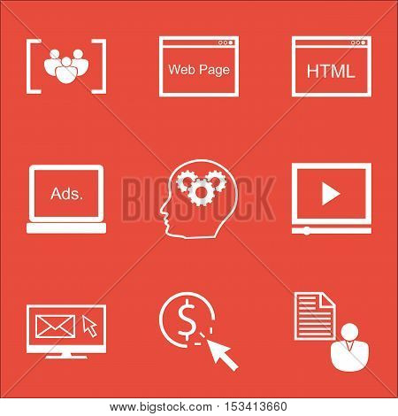 Set Of Marketing Icons On Digital Media, Website And Coding Topics. Editable Vector Illustration. In