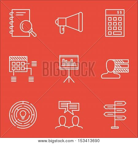 Set Of Project Management Icons On Innovation, Discussion And Schedule Topics. Editable Vector Illus