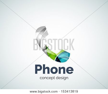 Retro phone logo template, abstract geometric glossy business icon