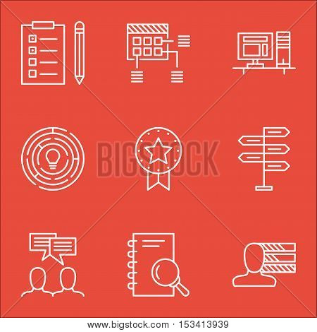 Set Of Project Management Icons On Schedule, Computer And Analysis Topics. Editable Vector Illustrat