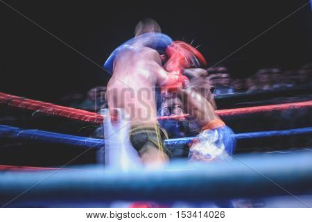 Motion of Thai Boxing Movement of Thai Boxing Fighting Movement Fighting Motion dark background