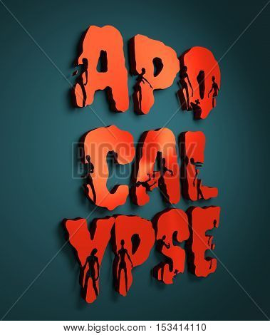 Apocalypse word and silhouettes on them. Halloween theme background. 3D rendering