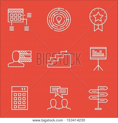 Set Of Project Management Icons On Opportunity, Innovation And Discussion Topics. Editable Vector Il