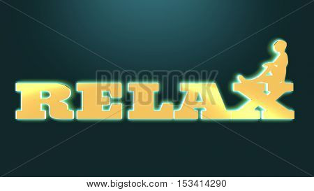 woman silhouette on relax text. Bodybuilding club emblem. 3D rendering