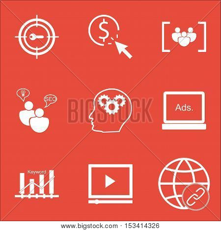 Set Of Advertising Icons On Video Player, Seo Brainstorm And Connectivity Topics. Editable Vector Il