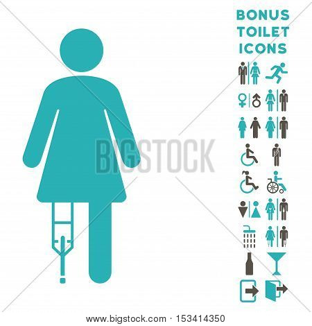 Patient Woman icon and bonus gentleman and female lavatory symbols. Vector illustration style is flat iconic bicolor symbols, grey and cyan colors, white background.