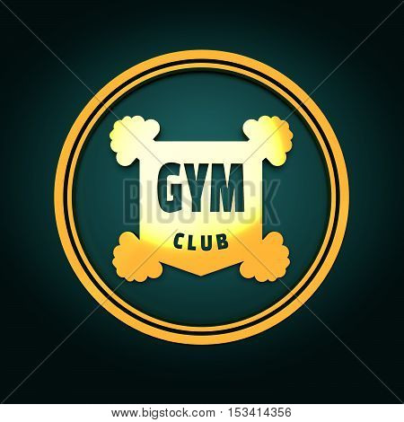 Bodybuilding coat of arms. Sporty style stamp. 3D rendering. Golden metal material