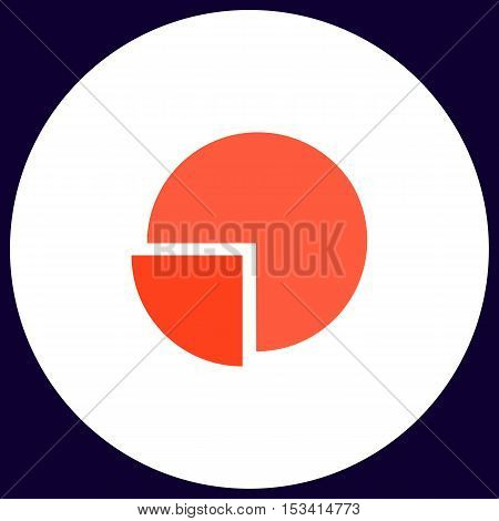 Pie chart Simple vector button. Illustration symbol. Color flat icon