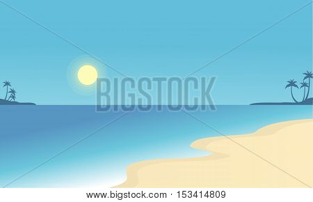 Vector flat of beach scenry collection stock