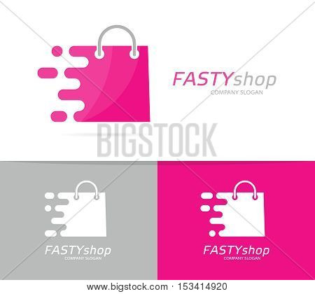 Vector fast package logo combination. Speed bag symbol or icon. Unique buy and sale logotype design template.