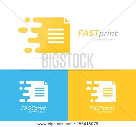 Vector fast file logo combination. Speed document symbol or icon. Unique page and note logotype design template.