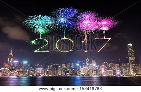 2017 Happy New Year Fireworks Celebrating Over Hong Kong City