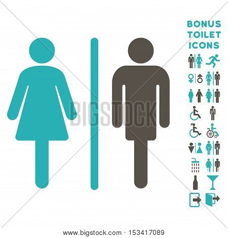 WC Persons icon and bonus gentleman and woman lavatory symbols. Vector illustration style is flat iconic bicolor symbols, grey and cyan colors, white background.
