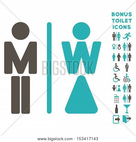 WC Persons icon and bonus gentleman and lady lavatory symbols. Vector illustration style is flat iconic bicolor symbols, grey and cyan colors, white background.