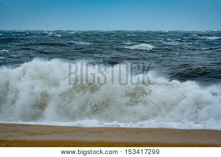 Stormy conditions at the beach from hurricane Hermine