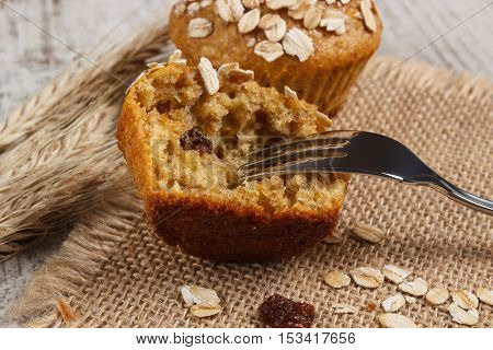 Fresh Muffins With Oatmeal Baked With Wholemeal Flour And Ears Of Rye Grain, Delicious Healthy Desse