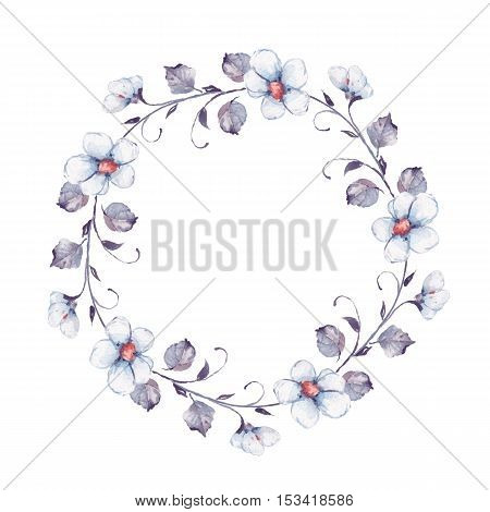 White flowers. Watercolor floral wreath. Hand drawn element for design. Round frame 3.