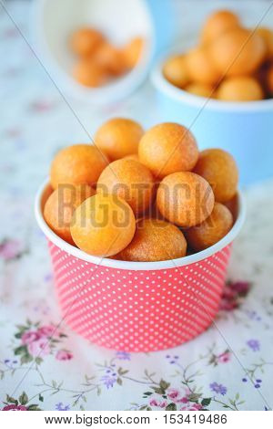 Thai Dessert Sweet Potato Balls Fried Potato Ball on Colorful Background