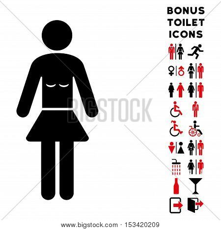 Lady icon and bonus male and lady lavatory symbols. Vector illustration style is flat iconic bicolor symbols, intensive red and black colors, white background.
