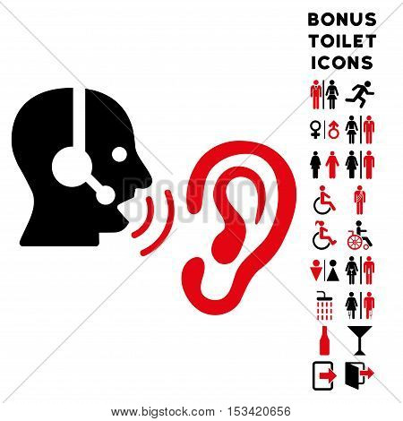 Listen Operator icon and bonus gentleman and lady WC symbols. Vector illustration style is flat iconic bicolor symbols, intensive red and black colors, white background.