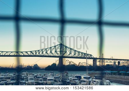 Jacques Cartier Bridge of Montreal Quebec Canada with Beautiful Sky