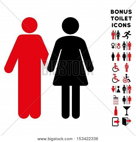 Married Couple icon and bonus gentleman and woman lavatory symbols. Vector illustration style is flat iconic bicolor symbols, intensive red and black colors, white background.