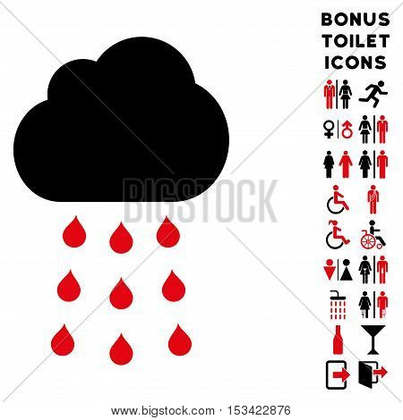 Rain Cloud icon and bonus male and female lavatory symbols. Vector illustration style is flat iconic bicolor symbols, intensive red and black colors, white background.