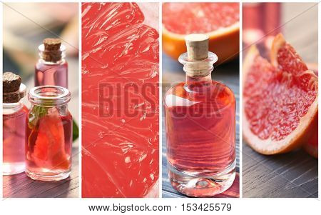 Collage of grapefruit spa. Beauty treatment concept.
