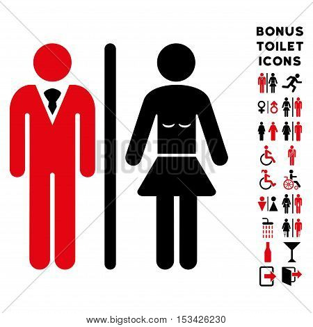 Toilet Persons icon and bonus gentleman and lady toilet symbols. Vector illustration style is flat iconic bicolor symbols, intensive red and black colors, white background.