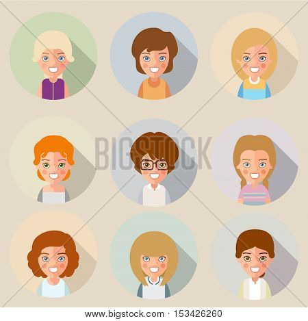 This is a set of cartoon characters girls. In the flat style. For avatars. eps8. Party of two.
