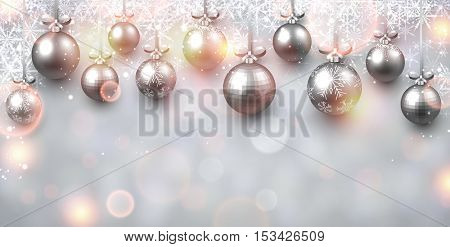 New Year shining background with Christmas balls. Vector illustration.