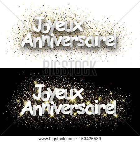 Happy birthday paper card with shining sand, French. Vector illustration.
