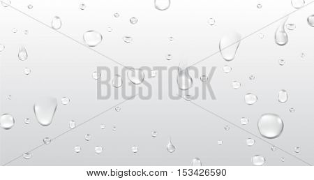 Background with water drops. Vector paper illustration.
