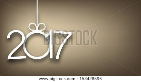 2017 New Year sign on gray background. Vector illustration.