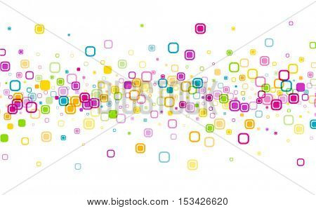 White background with color geometric pattern. Vector paper illustration.