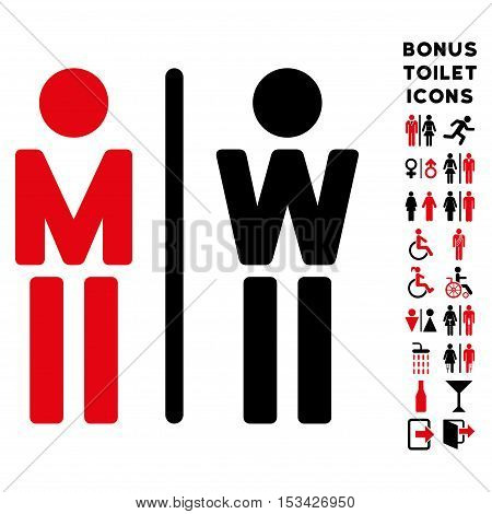 WC Persons icon and bonus man and female lavatory symbols. Vector illustration style is flat iconic bicolor symbols, intensive red and black colors, white background.