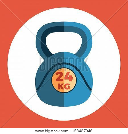 Weight icon. Blue weight on a red background. Sports Equipment. Vector Illustration