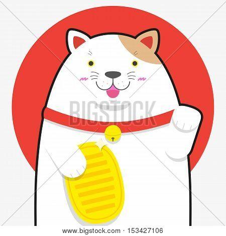 cute big fat Maneki neko lucky cat on Japan flag background